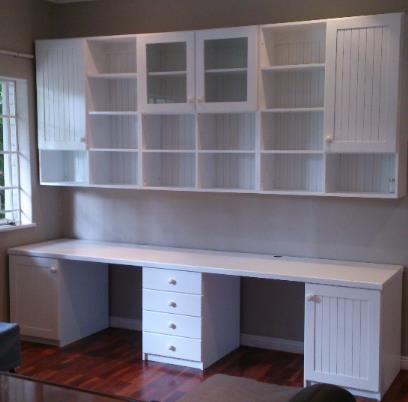 Double desk and shelving